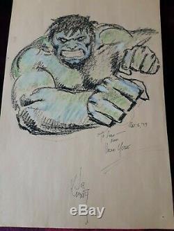 79' Art Original Par Joe Kubert Dans One Of A Crayon Genre Hulk Signé