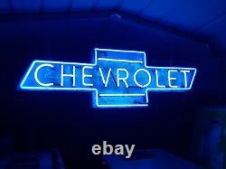 Ancien Chevrolet Neon Sign Bowtie Concessionnaire Signe Unique En Son Genre
