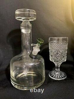Antique D'une Sorte De Cristal Decanter Bong Pipe D'eau Hookah 14mm