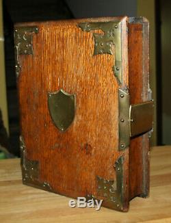 Antique Fermoir Grande En Laiton Bois Millésime Boîte Bible Un D'une Sorte Fabriqués À La Main