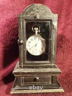 Antique Un D'un Casier Aimable De Cas De Porte-montre De Poche Signé Sur Le Dos