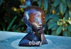 Antique Vintage Authentic Hagenauer Solid Wood Model African Head One Of A Kind