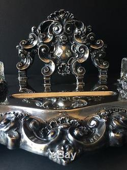 Argent Sterling Encrier King John V Custom Style Set Bureau Un D'une Sorte
