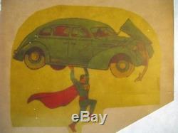 Authentique Rare Unique D'une Couverture De Bande Dessinée Superman # 1 Original Work Up Art