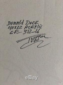 Beautiful One Of A Kind Jozza Originale Acrylique Sur Toile Intitulée Donald Duck