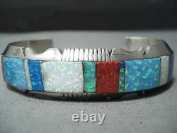 Bracelet En Argent Sterling En Argent Sterling Inlay D'opales De Navajo Multi Colorés