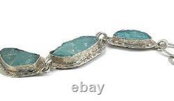 Bracelet En Verre Romain Argent 925 Un D'une Sorte De Vieux Fragments 200 B. C Israël