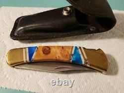 Buck 110 2008 One Of A Kind Custom Walnut Burl Wood Handle With Acrylic Inlays