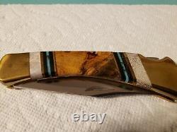Buck 110 Knife One Of A Kind Custom Walnut Wood Elk Antler Noir Bleu Turquoise