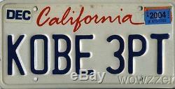 Californie D'origine Utilisé Plaque D'immatriculation Kobe 3pt! L'un De Kind Kobe Collection