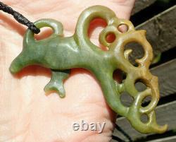 Collectible One Of Kind Nz Pounamu Greenstone Nephrite Jade Maori Hei Manaia