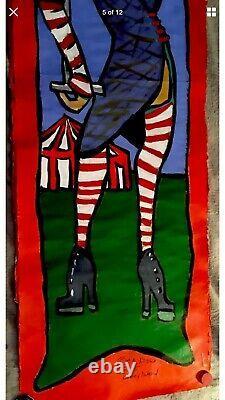 Coney Island Oil Painting Freak Show Banner Art, Huile Sur Papier Unique En Son Genre