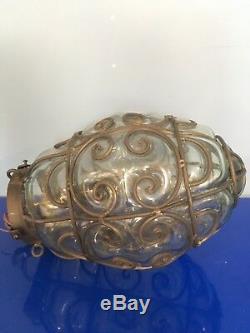 Cool Vintage Swag Lampe Verre À L'intérieur De La Métalerie Clear Coke Glass -un Unique