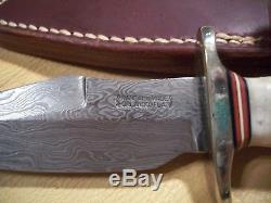 Couteau Damascus Prototype Vintage Avec Fourreau, Unique En Son Genre! 1990-1991