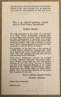 Encadré Disney Certifié Unique En Son Genre Peint À La Main Tableau Robin Des Bois Film