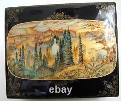 Fedoskino One Of A Kind Russian Lacquer Box Magic Mountain Par Sokolova