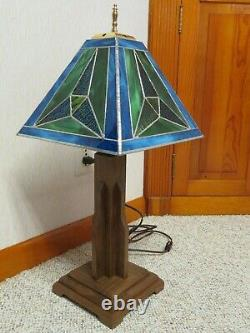 Frank Lloyd Wright Style De Mission Verre Teinté Lampe De Table/de Bureau Un D'un Genre