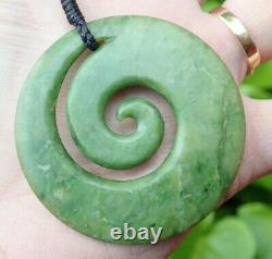 Grand Nz Pounamu Greenstone Fleur De Néphrite Jade Maori Spiral Koru