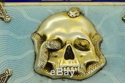 Hou La La! L'un D'un Genre En Argent Sterling Et Émail Maçonnique Crâne Et Serpent Étui À Cigarettes