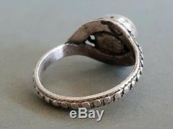 Hou La La! Rare Un D'un Genre Antique Vintage Allemand Memento Mori Skull Silver Ring