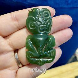 Jade Maori Hei Tiki Greenstone Pounamu Nephrite Nouvelle-zélande One Of A Kind