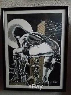 James O'barr, Pinup D'art Original D'elektra & Daredevil! Rare Unique En Son Genre