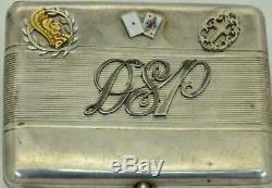 L'un D'un Genre Antique D'argent De La Première Guerre Mondiale Impériale Russe Général & Cigarettes En Or Cas
