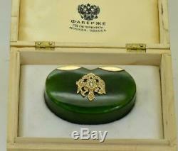 L'un D'une Sorte Impériale Russe Fabergé Pierreries Néphrite, Or Et Diamants Tabatière