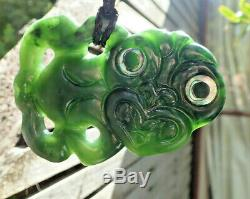 L'une Des Kind Nz Greenstone Pounamu Jade Néphrite Paua Eyed Maori Hei Tiki