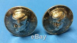 Le Président John F Kennedy (jfk) - Demi-dollar En Argent Boutons De Manchette - One-of-a-kind