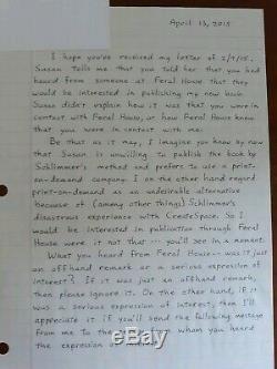 Lettre Manuscrite Originale De Ted Kaczynski, \unique En Son Genre