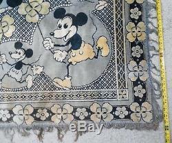 Mickey & Minnie De Très Tôt 1930 Souris Tapis Rarissime Un-de-a-nature Que Ce Soit