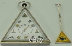 Montre De Poche / Table Maçonnique Pyramidale Maçonnique Argent Antique Et Émail Peint