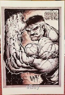 Nar Un D'une Couleur Aimable Copie De La Carte Sketch Surdimensionné 1/1 Hulk! Signé