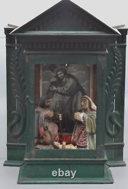 Niche Large 32in One Of A Kind Antique Nativité Escaperate Shadow Box