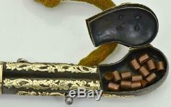 One Of A Kind Ancien Briquet En Argent Et Or 24 Carats De Russie Impérial En Forme De Pistolet