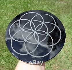 One Of A Kind Custom Made Black Obsidian Scrying Miroir Création De L'énergie Symbole