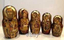 One Of A Kind Icônes Religieuses Russes 30 Nest. Poupée Saint Visages Et Icônes 19