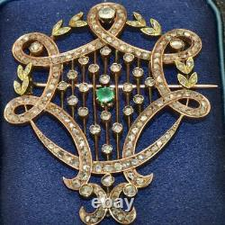 One Of A Kind Imperial Russian Faberge 14k Rose Gold, Emerald & 3ct Diamonds Broche