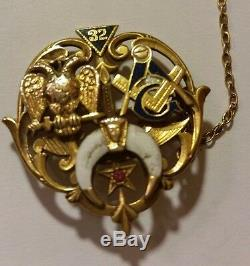 One Of A Kind Rare Vintage Mason (32) 14k Or Pin