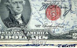 One Of A Kind Signés John Glenn 1953 Espace Original Flown $ 2 Bill USA Monnaie