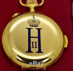 One Of A Tyrin Montre Empire Russe En Or 18 Carats Avec Émail Et Chronographe