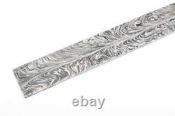 One Of Kind Damascus Steel Custom Made Feather Pattern Blank Billet 40