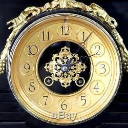 One-of-a-kind Antique Grande Horloge Doré Et Marbre Empire Français Du 19ème