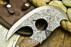 One-of-a-kind Rare Sur Mesure Fait Main D2 Acier À Outils Couteau Chisel Gravé