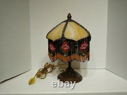 One-of-a-kind Vintage Artisan 13 Lampe De Table En Verre Slag Avec Abat-jour En Verre Perlé
