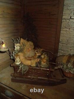Père Noël Primitif, Renne Antique, Traîneau De Cru, One Of A Kind Fait Main