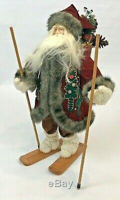 Père Noël Vintage Figure Artiste Linda Cowell Ski De Noël À La Main Un De Genre