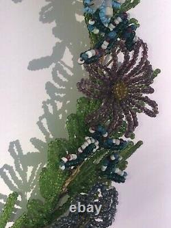 Perle De Graine De Verre Française Antique Floral Wreath Stupéfiant Un Des Types Perlés