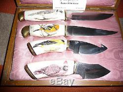 Peter Martin Couteau Personnalisé Scratchhawed Bird Set (4) Unique En Son Genre Rare Rare